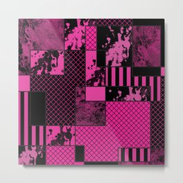 Pink And Black - Abstract, geometric, textured artwork Metal Print