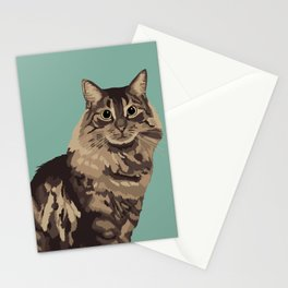 The Long-Haired Tabby Cat Stationery Cards