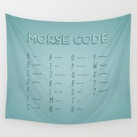 code Wall Tapestries featuring Morse code by Jane Mathieu