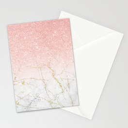 Rose Gold Glitter and gold white Marble Stationery Cards