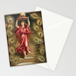 A woman holding lamp with flame from Aladdins Lamp by Joaquin Millers poem Stationery Cards