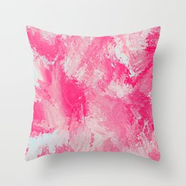 Pink Watercolor Sponge Painting Throw Pillow