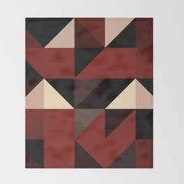 Red Black Block Pattern Abstract Throw Blanket