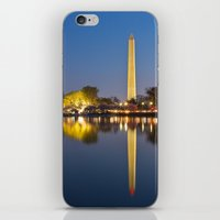 washington dc iPhone & iPod Skins featuring Washington DC Dawn Monument by Nicolas Raymond