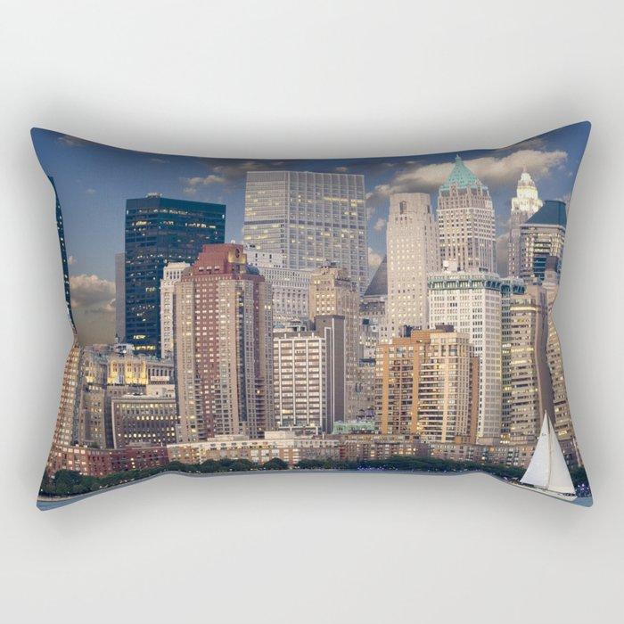 Downtown NYC at twilight Rectangular Pillow