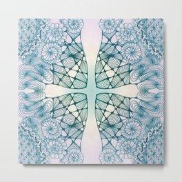 Blue Wash Zentangled Cross Tile Doodle Design Metal Print