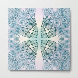 Blue Wash Zentangled Cross Tile Doodle Design Metal Print