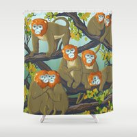 arctic monkeys Shower Curtains featuring Monkeys by Beesants