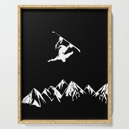 Rocky Mountain Snowboarder Catching Air Serving Tray