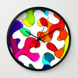 Colorful Blobs Blending Together  Wall Clock