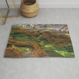 Mountain lake full of color and details Rug