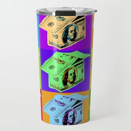 Poster with dollars house in pop art style Travel Mug