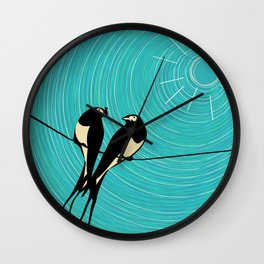 Swallows on a wire Wall Clock