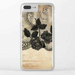 Black floral lace on wood  -Elegant and luxury design for women Clear iPhone Case