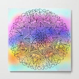 Color Splash Mandala Metal Print