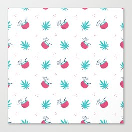 Cute trendy pink teal tropical summer drink floral pattern Canvas Print