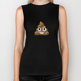 Smiling Poo Emoji (Colored Background) Biker Tank
