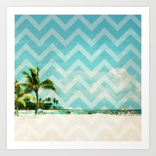 Chevron Beach Dreams Art Print