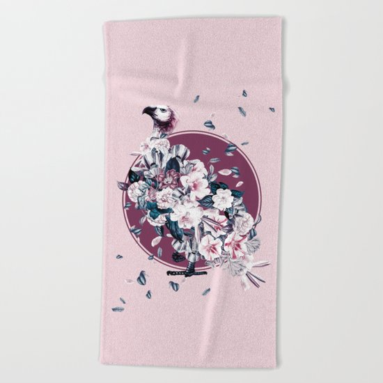 Vulture and Floral Beach Towel
