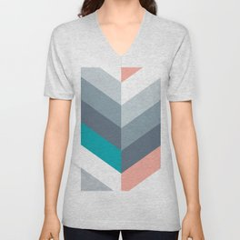 Vertical Chevron Pattern - Teal, Coral and Dusty Blues #geometry #minimalart #society6 Unisex V-Neck