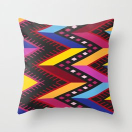 Colored huipil Throw Pillow