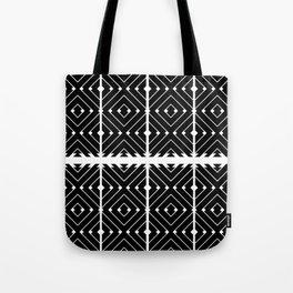 MONOCHROMA Geometrica : Black & White Box Pattern Tote Bag