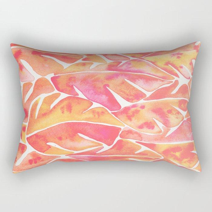 Split Leaf Philodendron – Melon Palette Rectangular Pillow