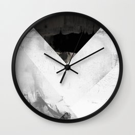 Marble black and white texture illustration art print gray scale Wall Clock