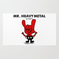 heavy metal Area & Throw Rugs featuring Mr Heavy Metal by NicoWriter