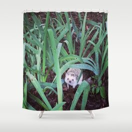 Juni Hedgehog Adventure in Plants Shower Curtain