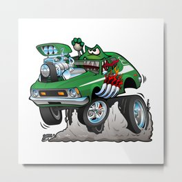 Seventies Green Hot Rod Funny Car Cartoon Metal Print