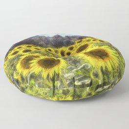 Sunflower Fields Of Dreams Art Floor Pillow
