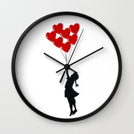 Girl With Heart Balloons Wall Clock