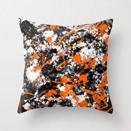 Individualistic Graffiti 7 Black White Orange - Abstract Art Series Throw Pillow