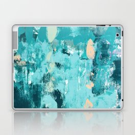 020: a vibrant abstract design in teal and peach by Alyssa Hamilton Art  Laptop & iPad Skin