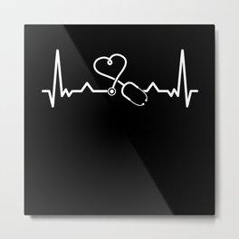 Nurse Doctor - RN Nursing Stethoscope Metal Print