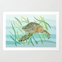 Sea Turtle at Home Art Print