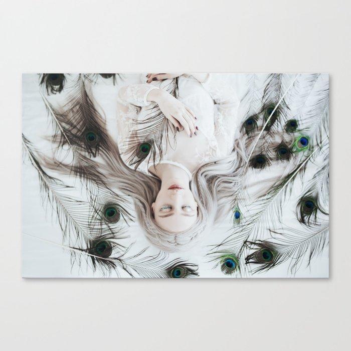 White peacock Canvas Print