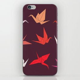 Japanese Origami paper cranes sketch, symbol of happiness, luck and longevity iPhone Skin
