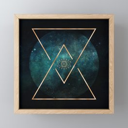 Eye Moon Gold Geometric Tribal Bohemian Mandala Framed Mini Art Print