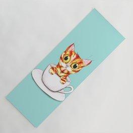 Striped coffee cat Yoga Mat