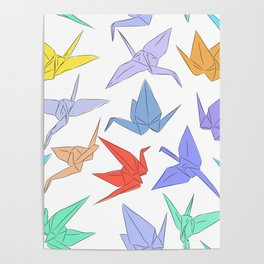 Japanese Origami paper cranes symbol of happiness, luck and longevity Poster