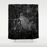 oklahoma Shower Curtains featuring Tulsa map Oklahoma by Line Line Lines
