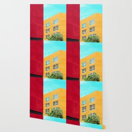 Architectural photography building red+yellow / aqua sky Wallpaper