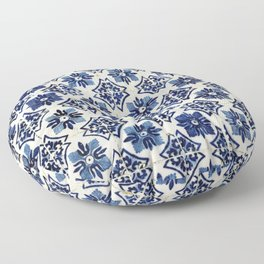 Vintage Blue Ceramic Tiles Floor Pillow