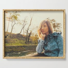 Lovely young woman in the Natural Park of Ticino Serving Tray