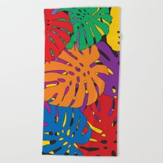 Monstera leaves in Pop Art Beach Towel