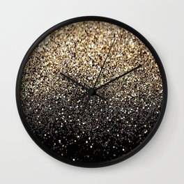 Black & Gold Sparkle Wall Clock