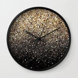 Black Royalty Glitter  Wall Clock