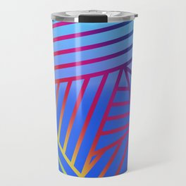 Rainbow Ombre Pattern with Blue Background Travel Mug